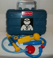 Fisher Price Pretend Play Blue 2000 Doctor Nurse Medical Kit w/Accessories