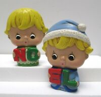 "Pair Vintage Holiday Christmas NO EL Ceramic Children Hand Painted About 5"" Tall"