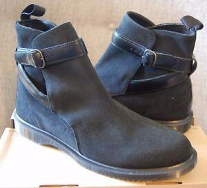 Dr Martens Teresa Black Water Resistant Suede Jodphur Strap Ankle Boots,11US/9UK