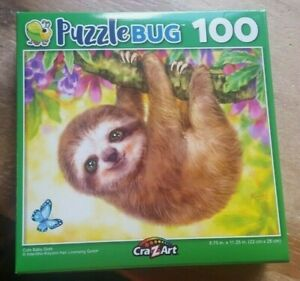 100 PIECE PUZZLEBUG JIGSAW PUZZLE - CUTE BABY SLOTH (brand new and sealed)