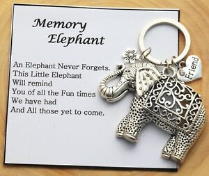Memory Elephant Keyring  for  Friend Mum ,Daughter Nana Sister