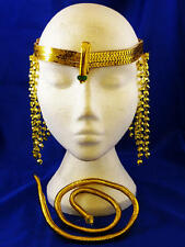 Gold Cleopatra Fancy Dress Set  Egyptian Headband Jewellery Kit