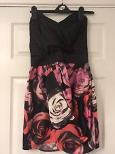Lipsy Black And Pink Rose Satin Sweetheart Mini party dress. Size 12. New tags