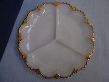 Anchor Hocking White Milk Glass 3 Pt Divided Relish Serving Plate Dish Gold Trim