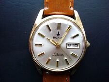 Buren by Hamilton Men's Automatic Watch 17j. Day Date QS New Band 1970's Runs!
