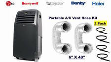 "*2 Pack* Portable A/C Vent Hose exhaust Kit-LG/HAIER/EDGESTAR/HONEYWELL 6"" X 48"""