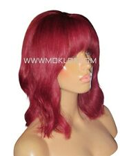 "IN STOCK Glueless Remy Human Hair Wig Full Lace 12"" Bob Burgundy Bug Red Fringe"