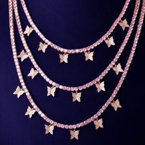 Butterfly Pendant Pink Zircon 4mm 1 Row Tennis Chain Necklace Men's Hip Hop New