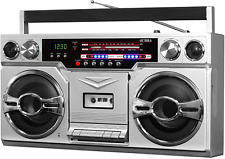 Bluetooth Boombox 1980 Style Cassette Player Music Radio Builtin Stereo Speakers