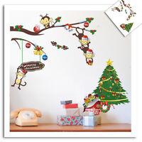 Wandtattoo Kinderzimmer Weihnachten Winter Geschenk Tiere Schnee Fensterbild NEU