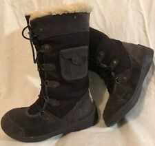 Bearpaw Purple Mid Calf Suede Lovely Boots Size 4 (534v)