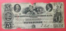 """1848 $5 Us """"Large Size"""" """"Pittsburgh, Pennsylvania"""" Old Us Paper Money Currency!"""