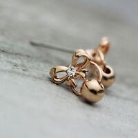 New 18K Rose Gold / Gold GP Women Girls Cute Bowknot Bead Drop Stud Earrings