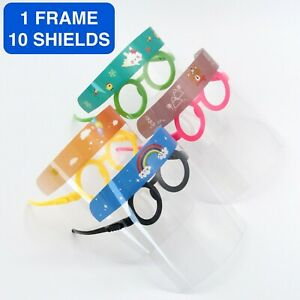 Kids Full Face Shield Mask Plastic Visor 1 PACK 10 SHIELDS Boys Girls Reusable