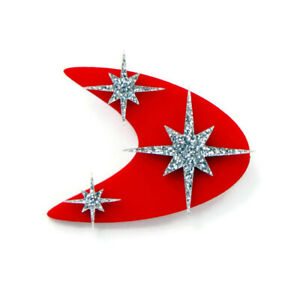 Atomic 50s Style Red Boomerang Brooch, Vintage Mid Century Style Celestial Pin