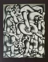 "Fernand Leger  ""Acrobats In Gray""  Mounted off-set b/w Lithograph 1971"