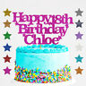 Personalised Happy 18th Birthday Glitter Cake Topper Any Name Any Age 18 21 30