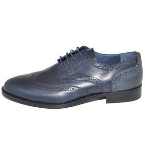Calzature scarpe uomo cerimonia elegante francesina stringata blu fondo cuoio an