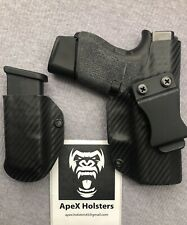 Holster and Mag Holder, Fits Glock 43, IWB, Black, Right Hand, Kydex.