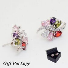 Gift Box Package Colorful Cubic Zircon White Gold Plated Lady Girl Stud Earrings