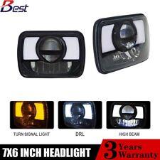 "Pair 5x7""7x6"" Projector LED Headlights Hi/Lo Beam Turn Singal Headlamp Halo DRL"