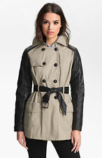 NEW GUESS MIX MEDIA FAUX LEATHER SLEEVE TRENCH COAT SZ L LARGE