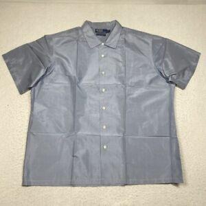Polo Ralph Lauren Artist Workshirt Silk Mens XL Blue Houndstooth Button Up S/S