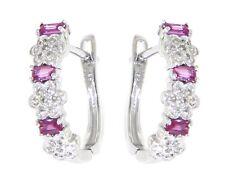 Ruby Birthstone 14K White Gold 0.32 CT Natural Diamond Huggies Floral Earrings