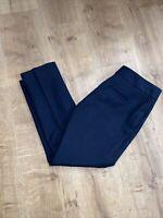ANN TAYLOR Size 0P Devin Fit Dress Pant Navy Blue Cropped Trouser Modern