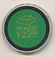 NUGGET CASINO SPARKS NV $25 CHIP GREEN SM-KEY MOLD 1950's
