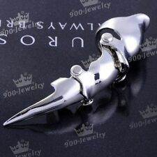 1x Full Punk Silvery Mens Knuckle Spike Claw Armour Metallic Finger Double Ring