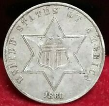 1860 3 Cent Silver Xf Details