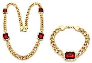 Hip Hop Micro Gang Onyx Black, Ruby Red Stone Link Chain Necklace, Bracelet Set