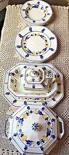 antique jones, george & sons crescent ivory england 12 pc china set blue & gold