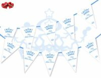 New Little Prince Baby Shower Christening Naming Day Bunting Banner 15 flags