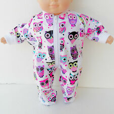 "american made bitty baby doll clothes 15"" twin white purple pink pajamas pjs owl"