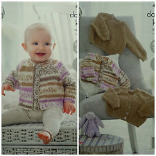 Knitting Pattern Baby Easy Knit Moss Stitch Cardigan & Pull KING COLE DK 4910