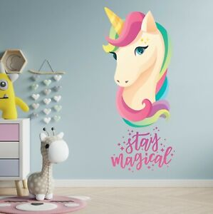 Unicorn Rainbow Magical Color Girls Pony Kids Bedroom Wall Art Vinyl Colorful UK