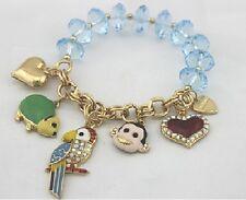 B131 Betsey Johnson Parrot Parakeet Rosella Monkey Chain Beaded Bracelet US