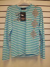 Rivaldi New Womens Medium Shirt Long Sleeve Striped White Blue Top Blouse