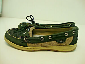 Sperry Top-Sider Womens Koifish Boat Shoes Black Beige Leather Breathable 10 M