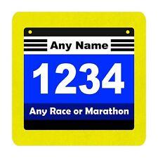 PERSONALISED MARATHON FUN RUN RUNNING ENTRY NUMBER  9CM SQUARE COASTER GIFT
