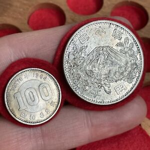 Tokyo. Olympic Issue Silver 1000 And 100 Yen, 1964. High Grade. (2 Coins)