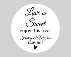 Personalised Round Wedding Favour Stickers Labels / Sweet Cone - Love is Sweet