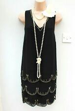 Size 8 Vintage 20s Deco Gatsby Flapper Charleston Style Beaded Black Dress EU 36