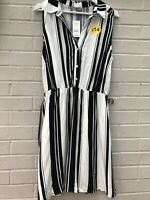 NEW GEORGE size 14 Black White Stripe Sleeveless Summer Dress Knee LengthBelted