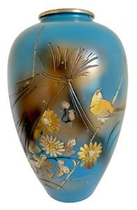 """VTG Japanese Mix Metal 3D Blue Vase Bronze Silver Gold 7"""" Signed Bird Flowers"""