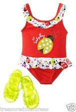 Wippette One Piece Ladybug Swimsuit & Jelly Sandals ~ Size 24 Months ~ NWT $30.