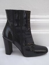 JIL SANDER black patent leather heeled ankle boots Italian size 38