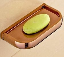 Luxury Rose Gold Brass Square Wall Mounted Bathroom Soap Dish Holder Kba847